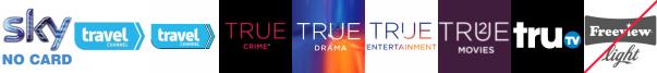 Travel Channel, Travel Channel +1, True Crime +1, True Entertainment, True Entertainment  1, True Movies  1, truTV
