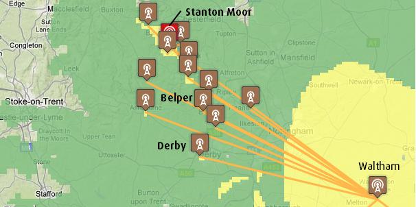 Derby, Belper, Stanton Moor transmitters