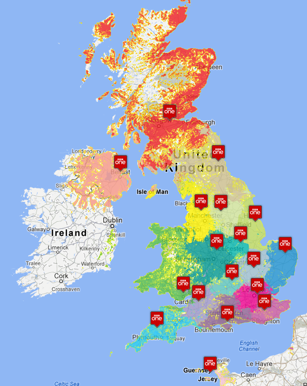 Itv and bbc regional tv maps now with colour again uk free tv digital tv advice to see all of the transmitter regions as used for digital switchover plus there is a map of the roi service saorview and relays gumiabroncs Image collections