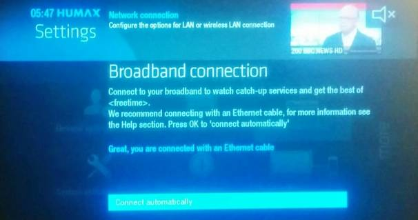 Fixing the Freesat Freetime internet connection problem