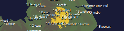 Map of Yorkshire Television new Sheffield Region