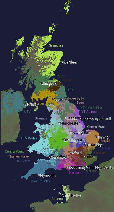 ITV Regions Map